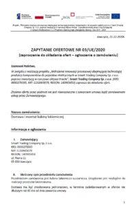 Zapytanie ofertowe nr 03 UE 2020 - Komora lakiernicza